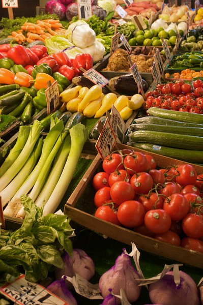 Vegetables arranged for sale in Pike Place Market in Seattle.