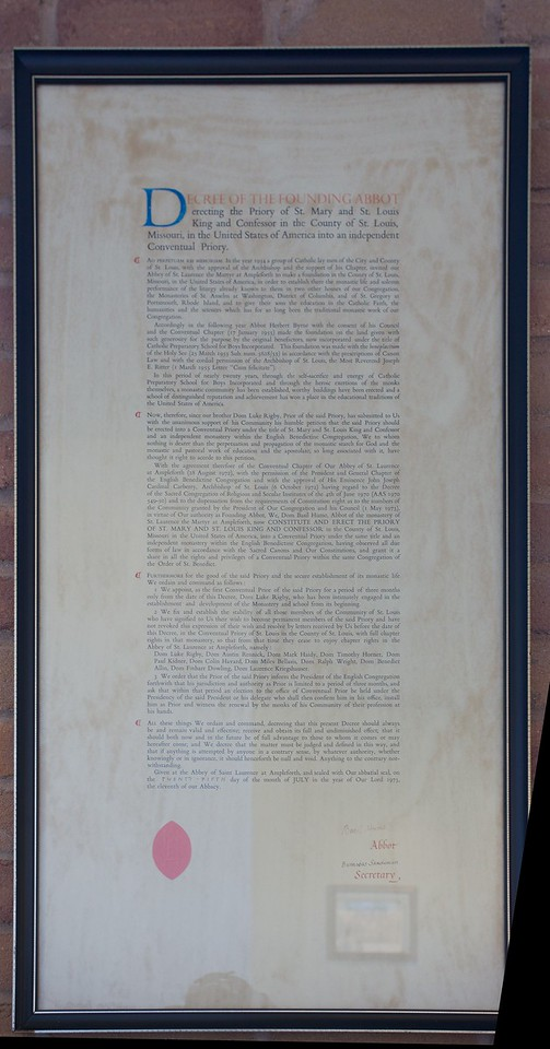 Dated 25th July 1973, this decree of the Abbot of Ampleforth, Basil Hume, established the priory of St Mary and St Louis as a priory independent of Ampleforth Abbey. St Louis' Priory had its status elevated to that of an Abbey in 1989.