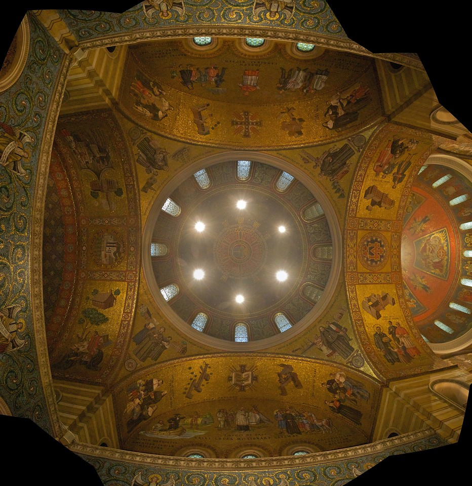 Seven-photo stitch of the view up into the first dome of the magnificent basilica at St Louis.