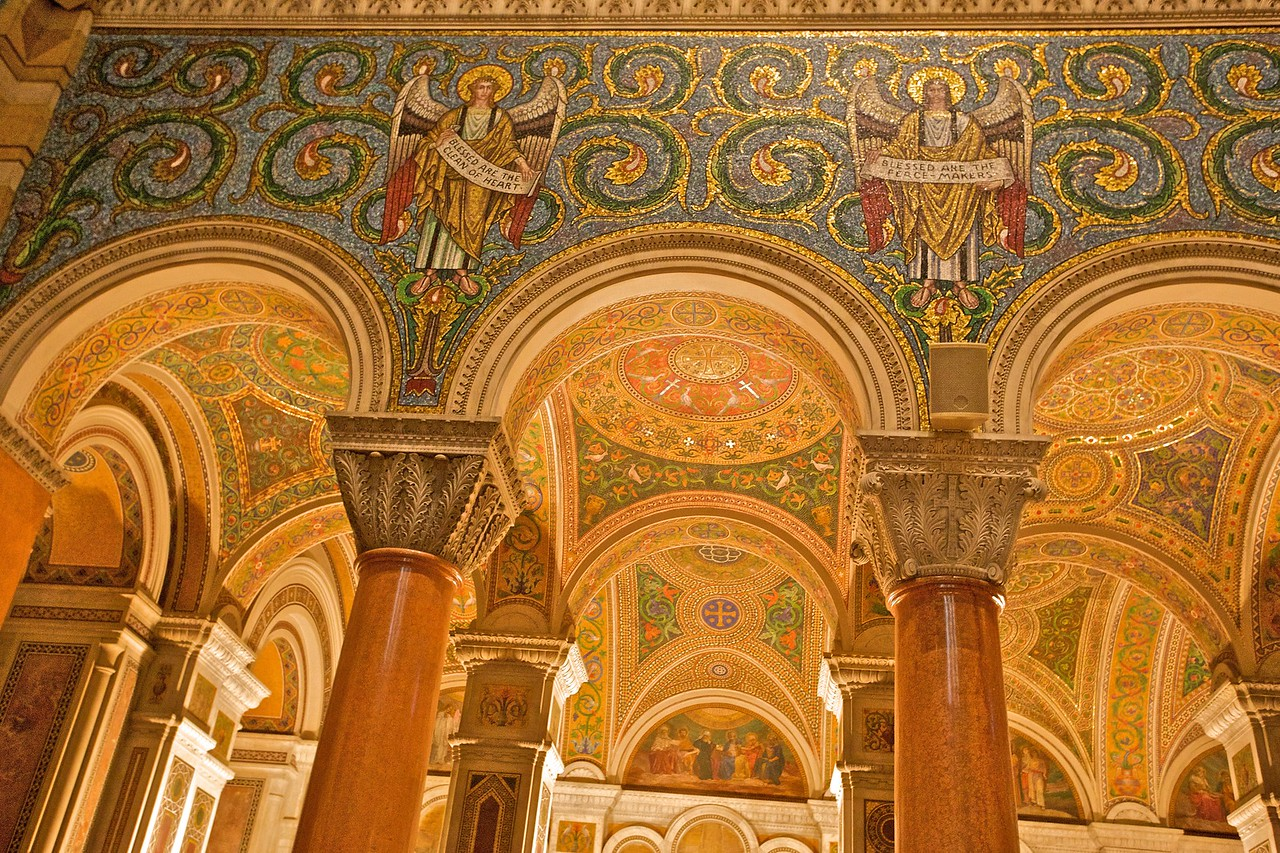 Detail of some of the intricate mosaic in the St Louis Basilica.