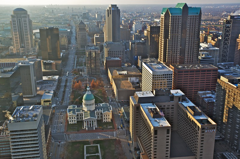 View over downtown St Louis from the viewing deck of the Gateway Arch. The domed building is the Old Courthouse.
