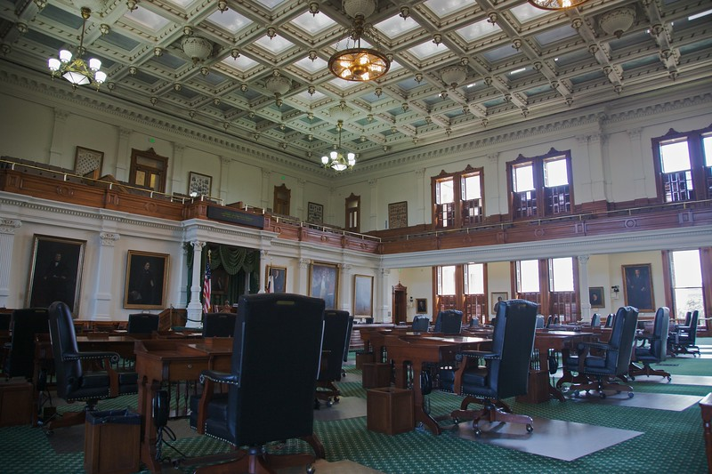 The senate chamber inside the Texas State Capitol.