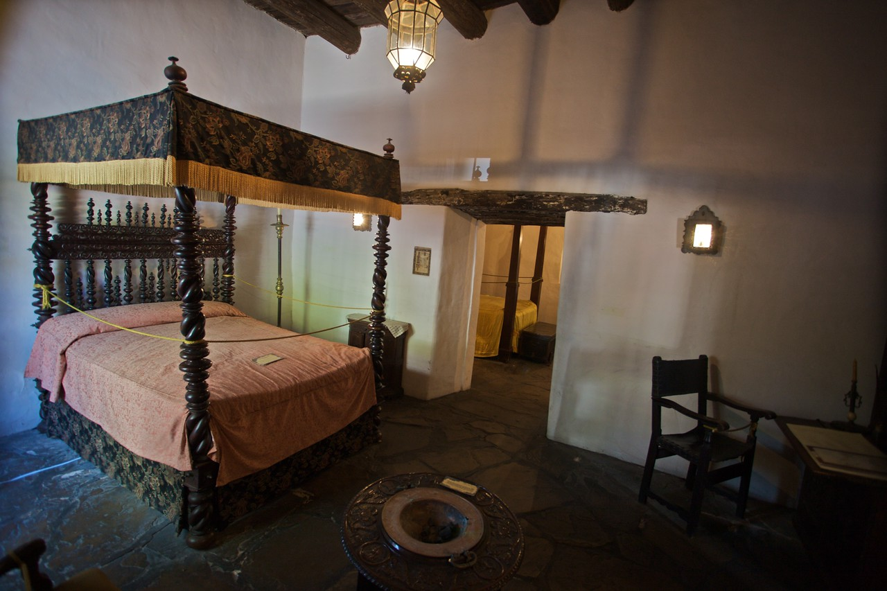Inside the Palace of Spanish Governor, San Antonio: the Governor's quarters, including a copper pan for burning coals in the winter months.