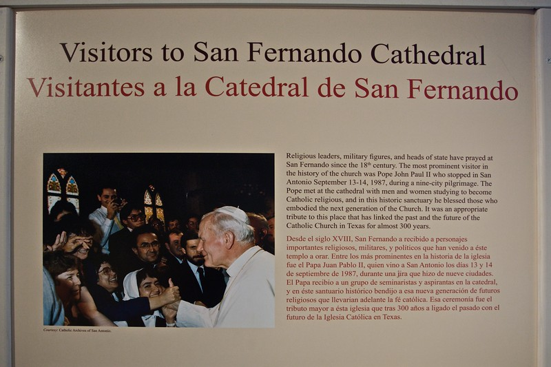 A commemoration in the small cathedral museum of the visit of Pope John Paul II to San Fernando Cathedral in 1987, the only visit of a Pope to Texas.