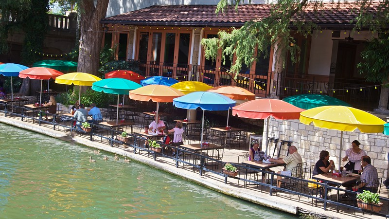 Umbrellas outside one of the restaurants along the river walk in San Antonio.