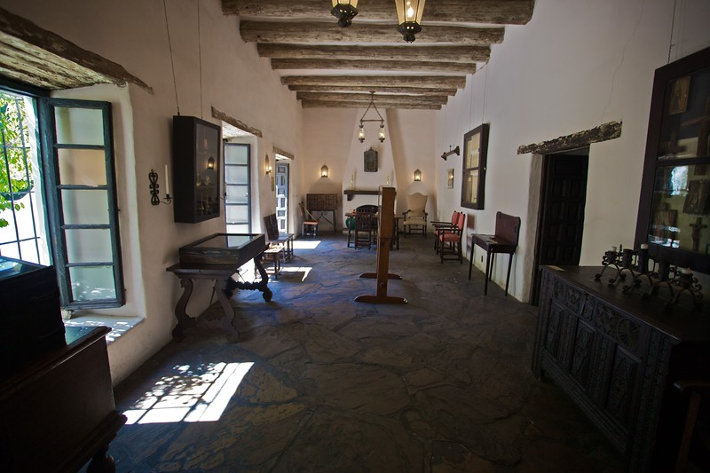 Inside the Palace of Spanish Governor, San Antonio: the family room, opening up on to the terrace.