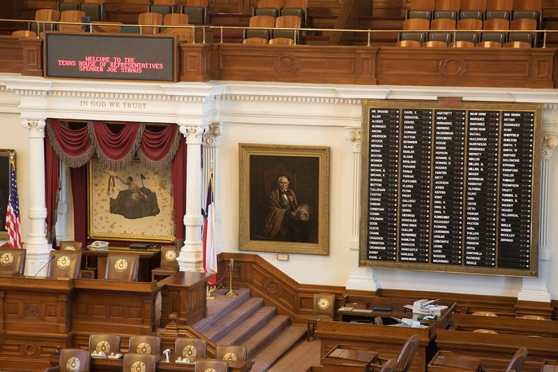 Inside the House of Representatives (the lower house) in the Texas Capitol. Look out for the second-last 'F' representative!