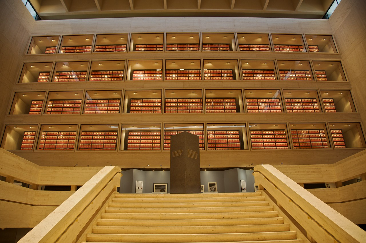 As well as housing a museum of Lyndon Johnson's presidency, the LBJ building at UT Austin also houses the official archive of his administration, which apparently consists of at least forty million pieces of paper. Here you can see the archive stored over four levels.