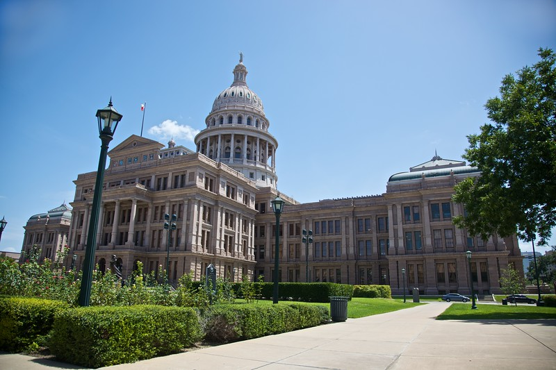 The northern side of the Texas Capitol building in Austin.