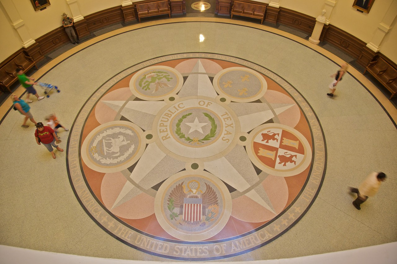 The floor under the dome of the Texas Capitol.
