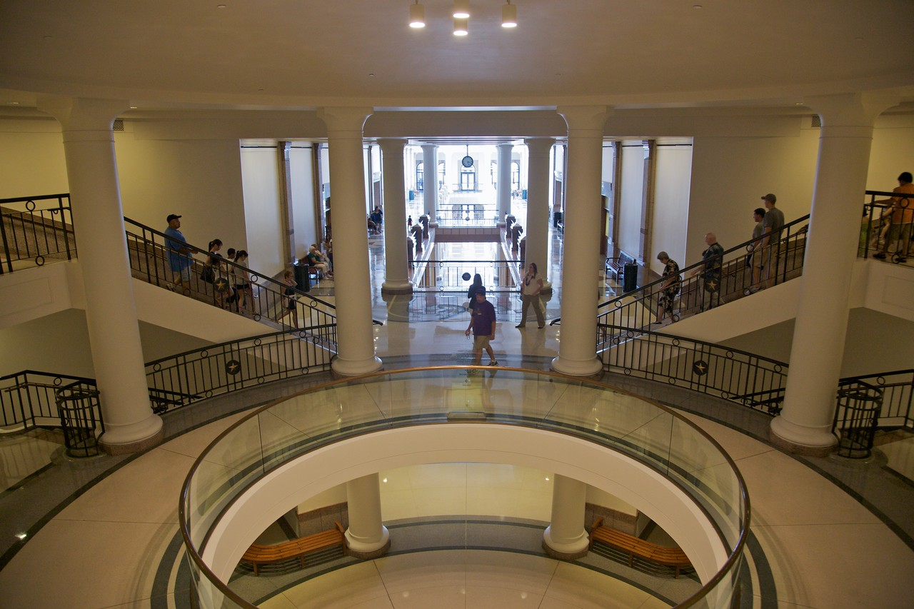 Going down to the underground extension of the Texas Capitol building, which houses offices for political staff-members.