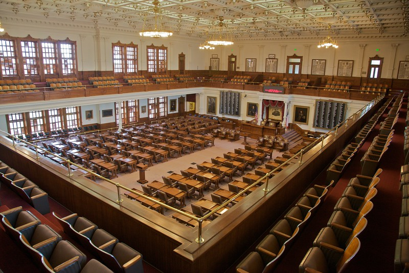 The chamber of the House of Representatives in the Texas Capitol.
