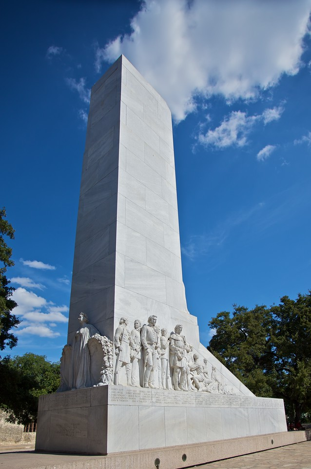 The monument to the men who died defending the Alamo.