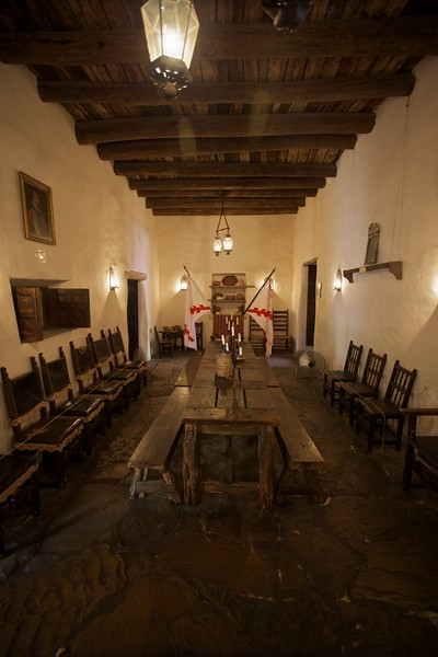 Inside the Palace of Spanish Governor, San Antonio: the dining room.