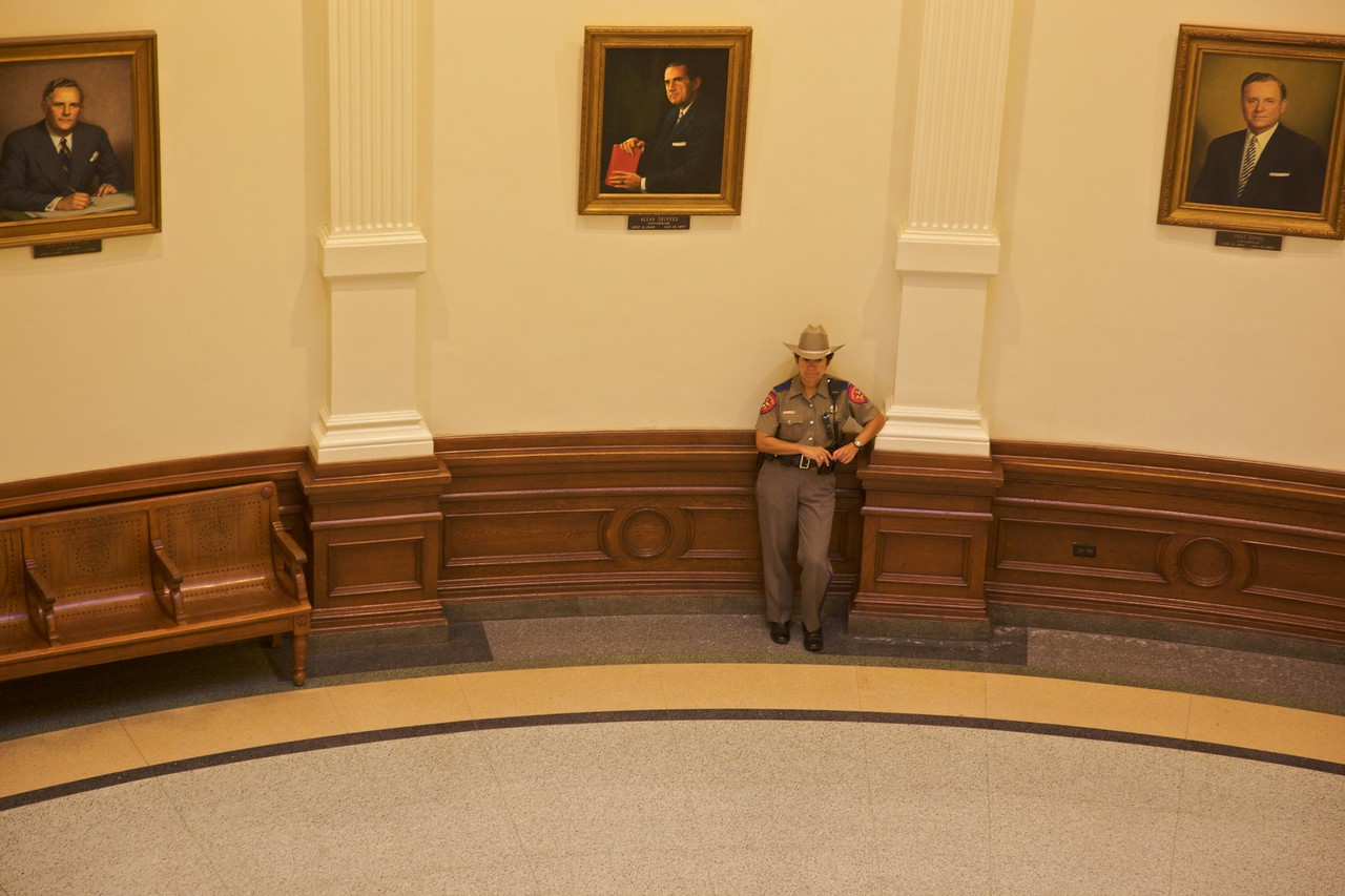 One of the rangers watching the tourists in the Texas Capitol. At no point did I have to undergo any security search, and I was never approached by anyone asking what I was doing. In fact, tourists are free to wander the corridors (and it wouldn't take much to start wandering in to offices!). I suppose that's 'approachable democracy', although I wonder if everything is so relaxed when the state Congress is in session, which is ordinarily only for the first six months of odd-numbered years.