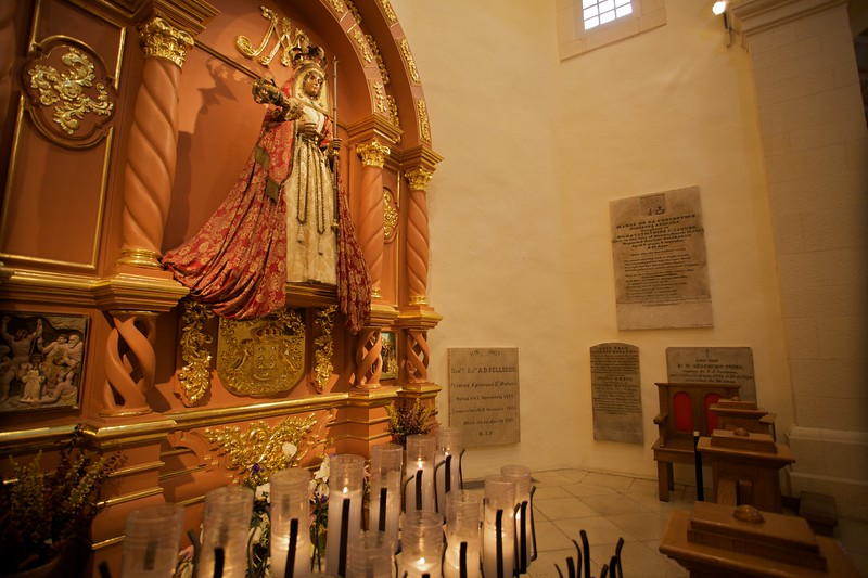 One of the two Lady altars inside San Fernando cathedral in San Antonio. This statue of the black Madonna was given by the people of the Canary Islands, in commemoration of the Canary Islanders who carried over a similar statue to found the church on whose site is now this cathedral.