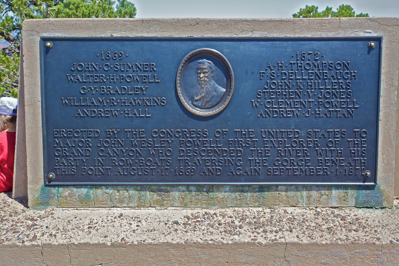 A plaque at Powell Point west of Grand Canyon village commemorating the first explorers to row along the River Colorado through the Grand Canyon.