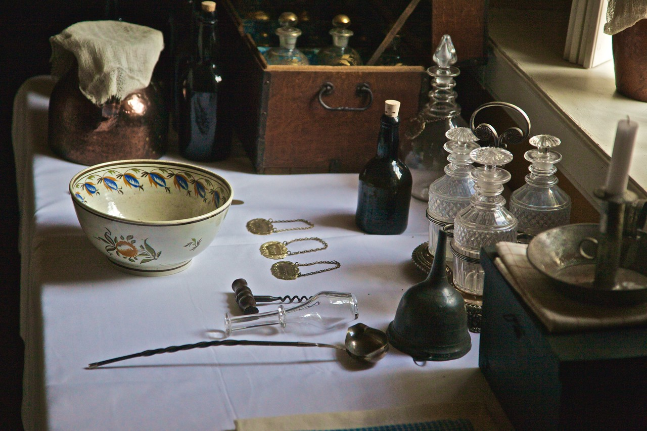 Cutlery and crockery laid out for display inside one of the buildings of Fort York.