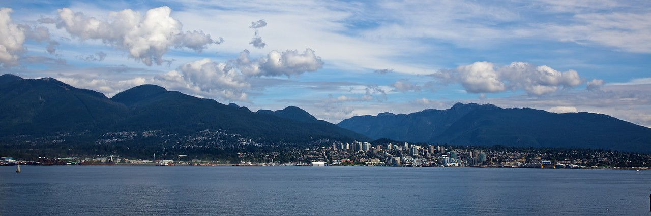 Looking towards the plush suburb of North Vancouver and the hills behind.
