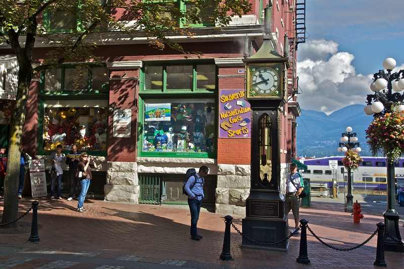 Tourists around the steam clock in Gastown.