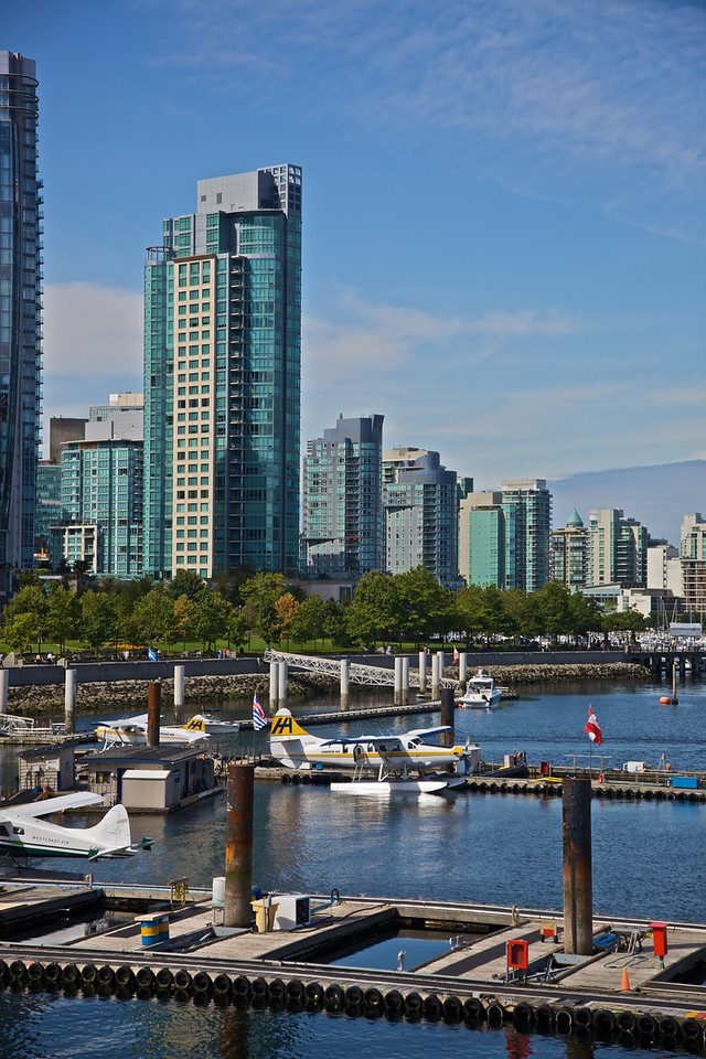 Seaplanes parked on Burrard Inlet (Vancouver harbour).