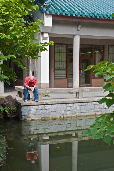 A man stares into the pond in the Dr Sun Yat-Sen Park in Chinatown in Vancouver.
