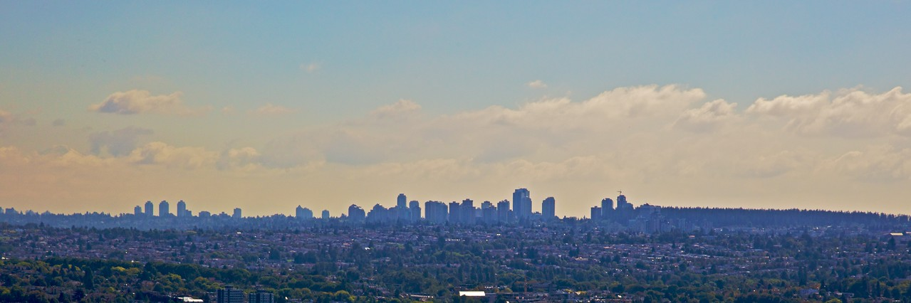 The skyline of the Metrotown district of Burnaby, a suburb to the east of Vancouver, as seen from the Harbour Centre building.