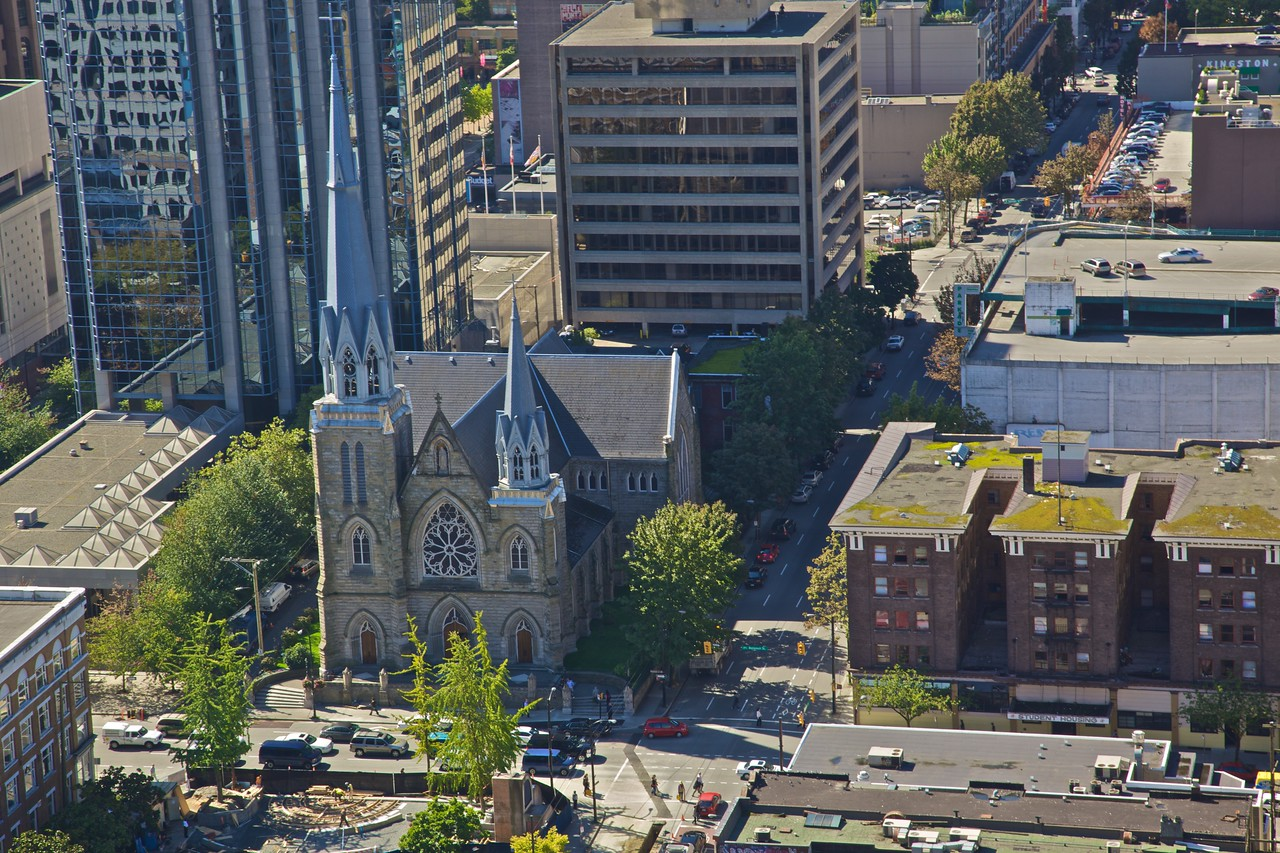 The cathedral of the Holy Rosary in Vancouver, as seen from the Harbour Centre building.