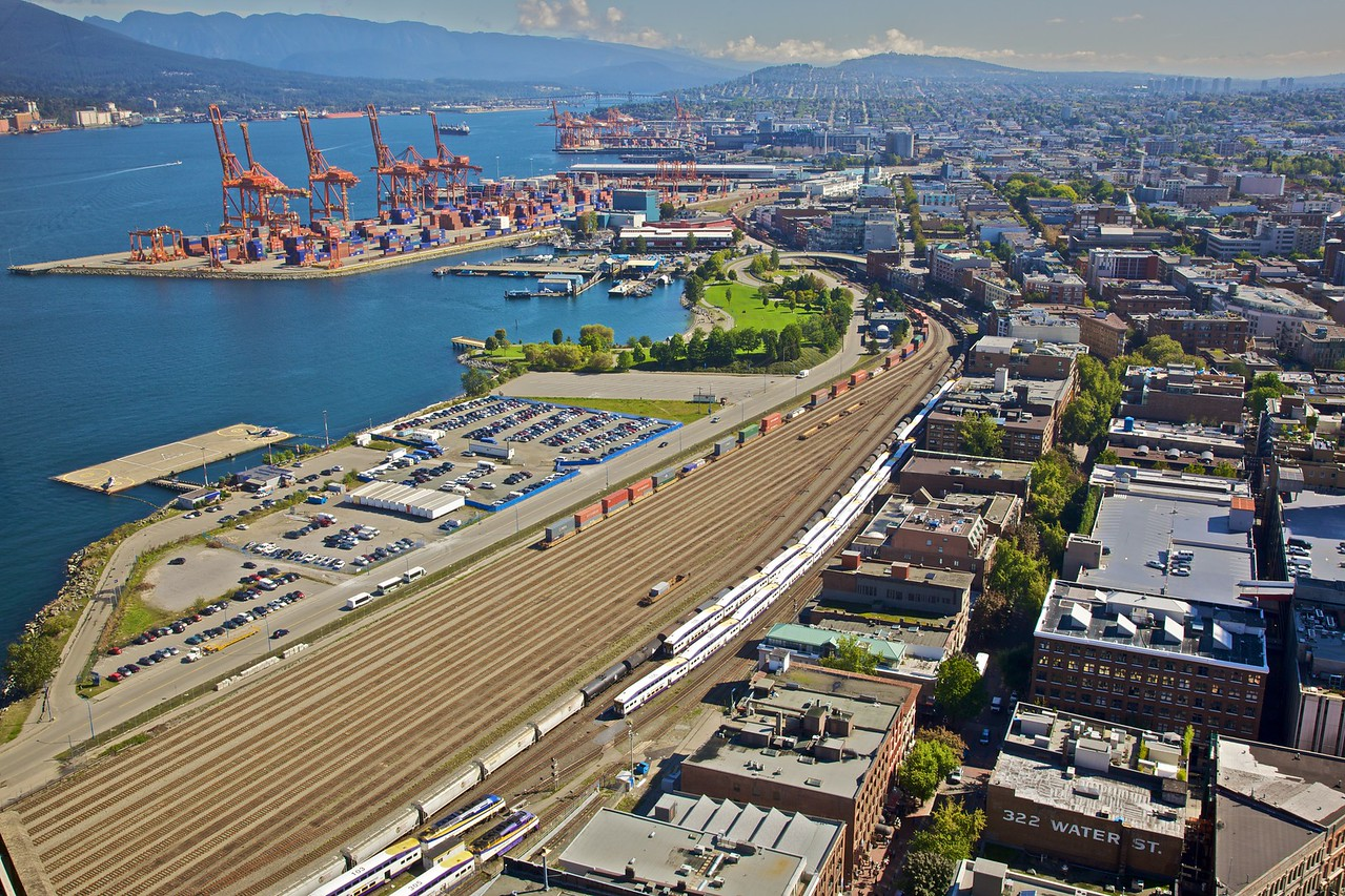 The railway and dockyards of Gastown, as seen from the Harbour Centre building in Vancouver.