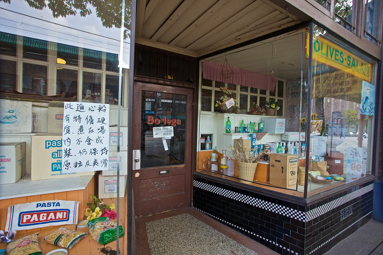 A Chinese-Italian food shop in Chinatown in Vancouver.
