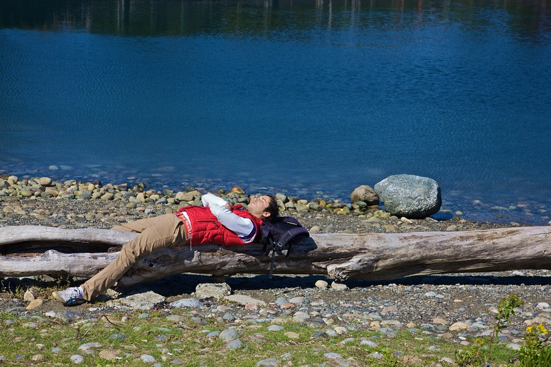 A man sleeps on the shore of the Lost Lagoon Lake at the southern edge of Stanley Park in Vancouver.