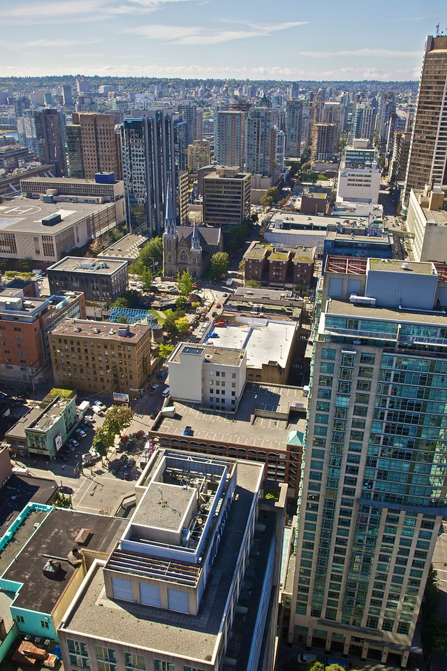 The buildings of downtown Vancouver as seen from the Harbour Centre building.