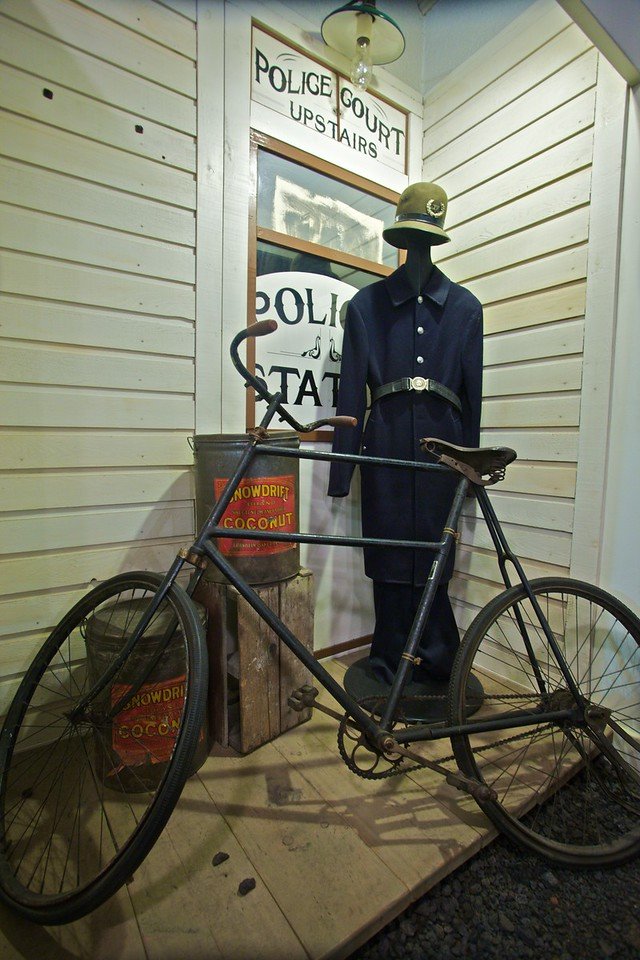 A police uniform and bicycle at the Police Museum in Vancouver.