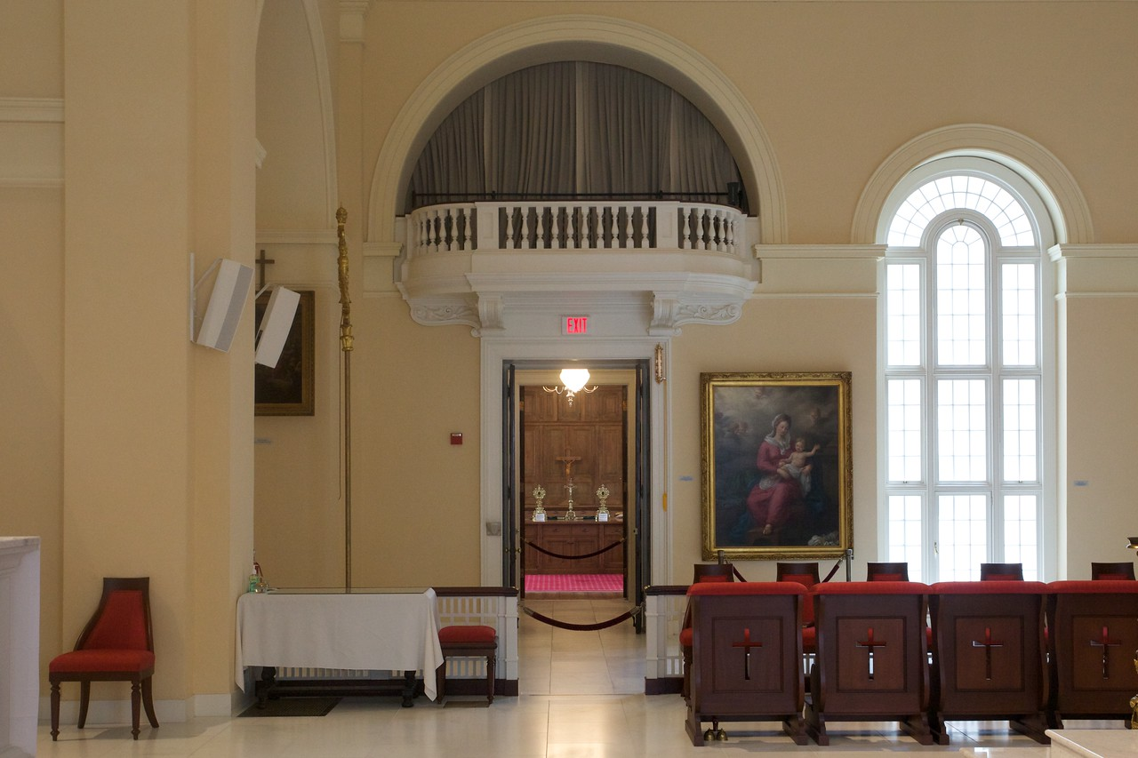 Looking in to the sacristy of Baltimore cathedral.