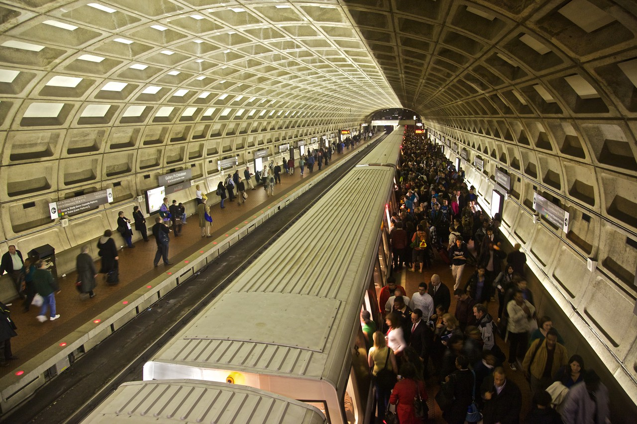 Commuters in the evening rush-hour crush in the Gallery Place/Chinatown Washington Metro station.