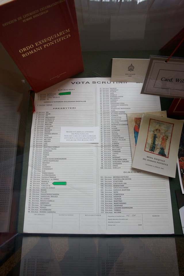 Stationery and other documents from the 2006 Papal Conclave, brought back to Baltimore by the then archbishop, William Cardinal Keeler.