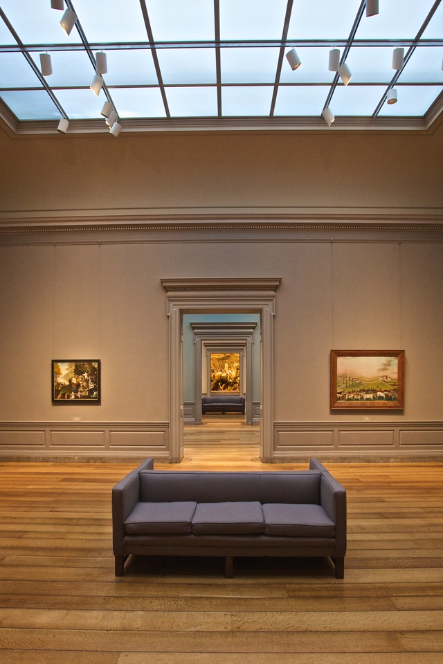 Empty galleries at the National Gallery of Art.