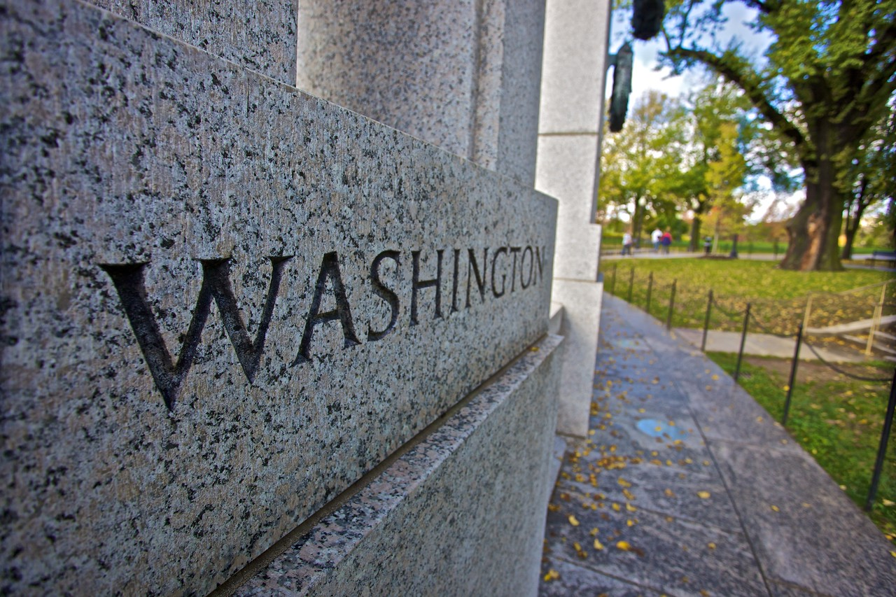 The National World War II Memorial is surrounded by the names of the fifty states (including the two which only became states   in 1959), as well as those of the District of Columbia and various dependent U.S. territories.