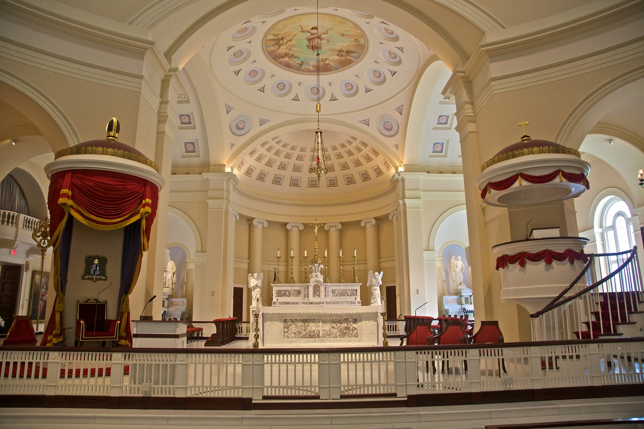 The sanctuary of the Basilica of the National Shrine of the Blessed Virgin Mary (or 'Baltimore cathedral'to its friends) in Baltimore.