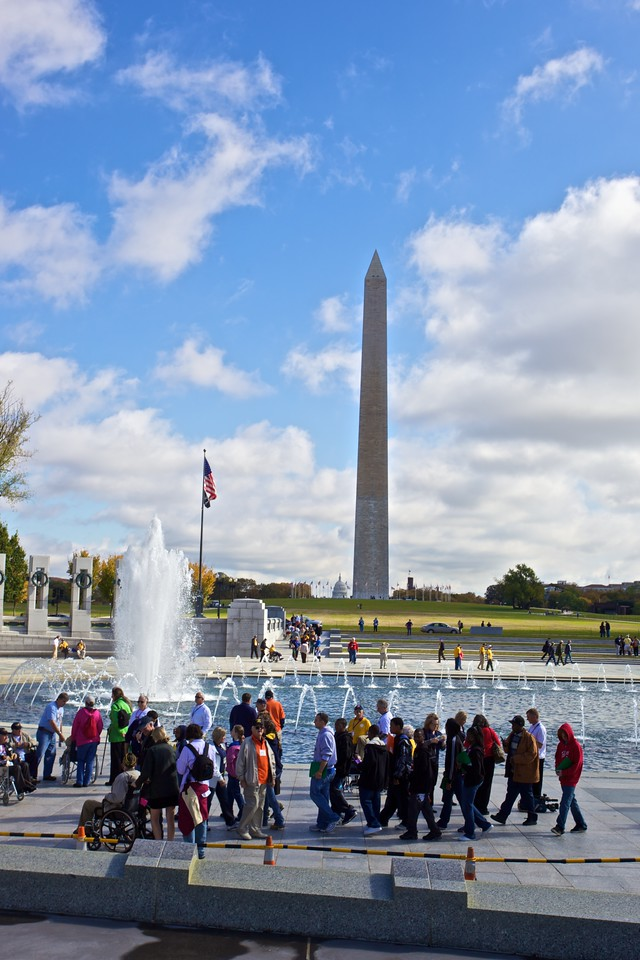 Looking past the National World War II Memorial towards the Washington Monument.