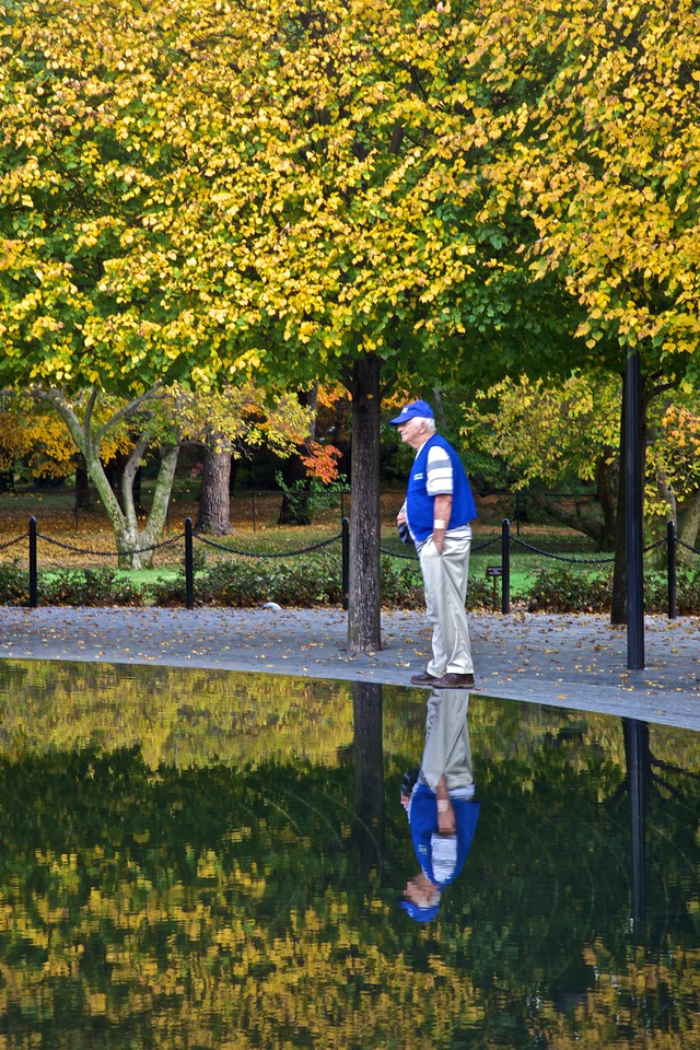 A veteran at the Korean War Memorial.