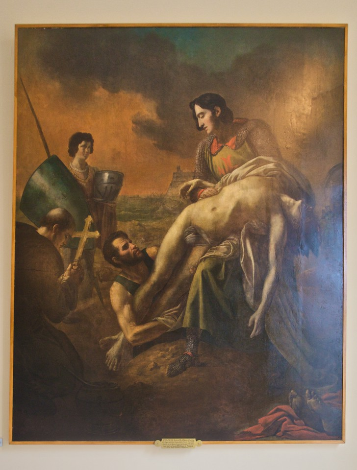 'St Louis (Louis IX of France) burying his plague-stricken troops before Tunis, A.D. 1270', by the Baron Charles de Steuben (1791–1856). This painting at the back of Baltimore cathedral was 'The gift of Louis, XVIII, King of France To the Arch-diocese of Baltimore' [sic and sic].