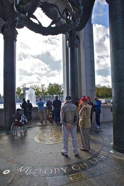War veterans at the National World War II Memorial.