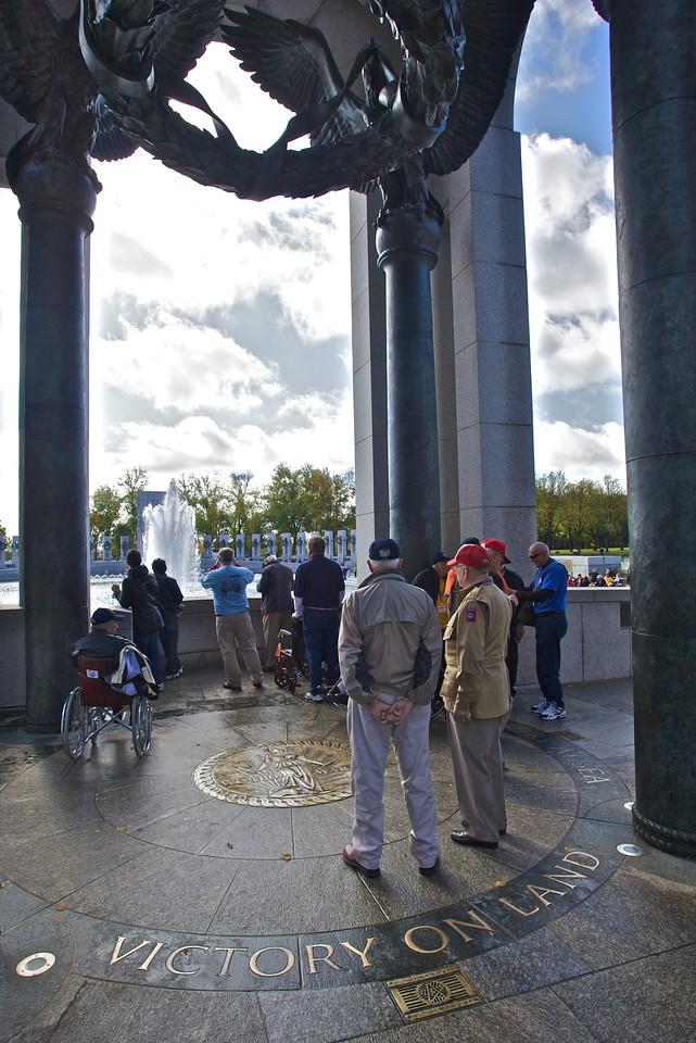 War veterans at the National World War II Memorial.
