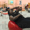 Tribune-Star/Joseph C. Garza<br /> To the core: Terre Haute Family Y instructor Kennetha Jordan wraps up Turkey Burn with a core class Thursday at the Y.