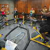 Tribune-Star/Joseph C. Garza<br /> In unison: Instructor Kennetha Jordan, far right, leads her cycling class as part of the Turkey Burn Thursday at the Terre Haute Family Y.