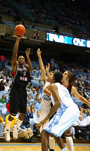 Gardner-Webb played a 3 point shot game as Josh Henley soars over UNC for a solid shot attempt.