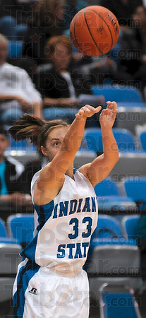 Tribune-Star/Joseph C. Garza<br /> Three in her sights: Indiana State's Kelsey Luna eyes a three-point basket during the Sycamores' win Sunday over Bellarmine at Hulman Center.