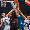 Tribune-Star/Joseph C. Garza<br /> Dual defenders: Indiana State Laurence Rivest and Moriah Hodge defend Bellarmine's Brittany Edelen during the Sycamores' exhibition win Sunday at Hulman Center.
