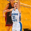 Tribune-Star/Joseph C. Garza<br /> Full court pressure: Indiana State's Kelsie Cooley tries to steal a pass at half court during the Sycamores' win Sunday over Bellarmine at Hulman Center.